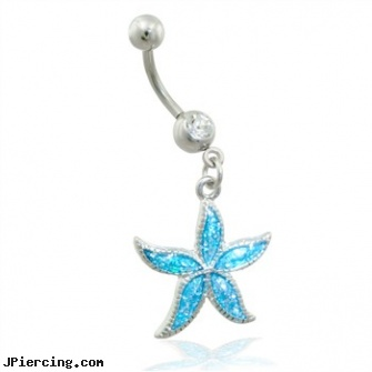 Belly ring with dangling aqua glitter starfish, belly button percing, belly button jewelry, belly ring manufactuer, penis rings enlargement, clitoris rings