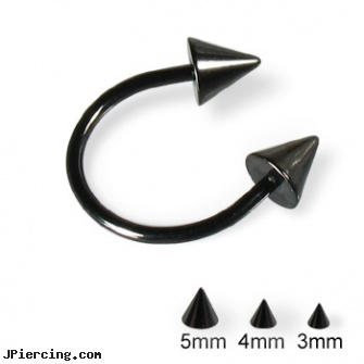 Black horseshoe barbell with cones, 16 ga, 10 gauge black nipple ring, piercing jewelry black, black hole body piercing, horseshoe body peircing, horseshoe belly button ring