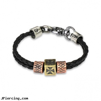 Black Leather Braided Double Strings Bracelet With Celtic Cross & Scaled Steel Charm, blackhole body piercing, black cat tattoo and body peircing, black line titanium body jewelry jewelry nipple, leather body jewellery, leather or rawhide cock rings