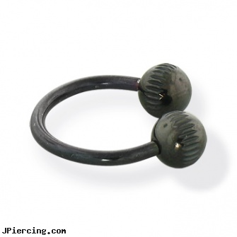 Black notched ball circular barbell, 14 ga, black cat tattoo and body peircing, black penis, black body piercing jewelery, 14k ball closure ring, curved earrings screw balls
