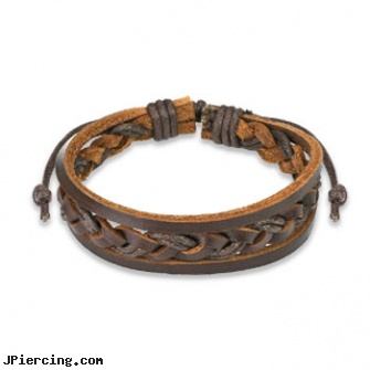 Brown Leather Bracelet With Double Strings Weaved Center, brown ring on penis, brown penis ring, brown ring around penis, leather body jewellery, leather cock rings