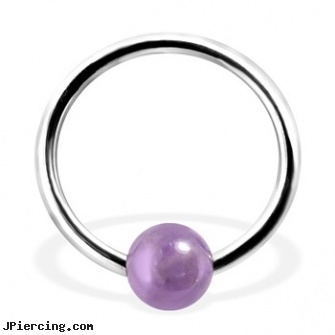 Captive Bead Ring with Amethyst Ball, 16Ga, double captive ring body jewelry, captive segment cock rings, captive earrings unique steel, replacement beads body piercings, navel piercings done at captive bead in rahway nj