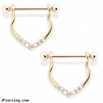Chic 14K Gold Dangling Nipple Ring with Clear Gems, 14 Ga, nipple piercing chicago, piercing studios in chicagoland, nose screw white gold, 14k gold body jewelry, 14kt gold navel jewelry jewelry deep