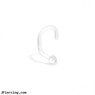 Clear Nose Screw / Nostril Piercing Retainer with Cone, 18 Ga, clear studs, clearwater florida tongue piercing, clear nose ring, nose ring care, surgical steel nose stud