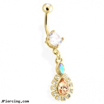 Gold Tone Belly Ring with Dangling Bordered Teardrop, nipple rings and gold, gold pierced belly button jewelry, white gold navel ring, rhinestone belly button barbells, tombstone body works jewellery