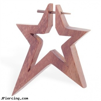 Hand carved sono wood star stirrup earring with taper, 14 ga, nipple jewelry handcuff, hand peircings, nipple body jewelry in handcuff design, organic wood body jewelery, ironwood piercing studios