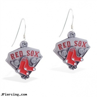 Mspiercing Sterling Silver Earrings With Official Licensed Pewter MLB Charms, Boston Red Sox, sterling silver jewellry, sterling navel ring, sterling silver nose studs, 22 gauge silver nose ring, silver jewelry