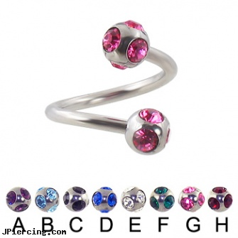 multi gem ball spiral barbell, 14 ga, navel jewelry multiple piercing, steel earrings multiple ear piercings, ear piercing double multiple, ball belly ring, micro ball labret stud