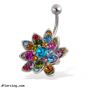 Multicolor Jeweled Flower Belly Button Ring Length 3 8 10mm