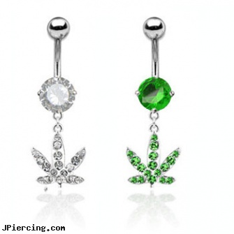 Navel Ring With Dangling Jeweled Pot Leaf Length 7 16 11mm