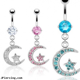 Navel Ring With Dangling Jeweled Star On Moon Length 7 16 11mm