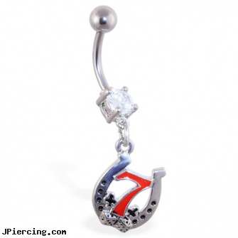 Navel Ring With Dangling Lucky 7 Horseshoe Length 7 16 11mm