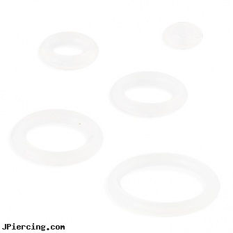 Pack Of 10 Clear Rubber O-Rings, packaging and body jewelry, nose ring packages, body jewelry and blister pack, clear studs, clearance tongue rings