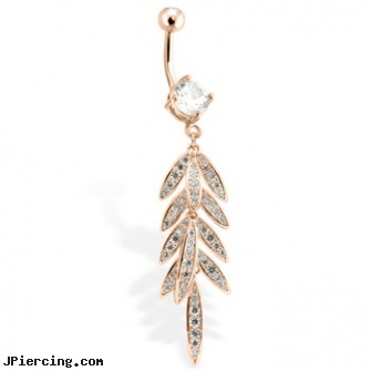 Rose Gold Toned Belly Ring With Cz Gem Paved Leaf Gauge Thickness 14