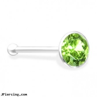 Silver Nose Bone With Peridot Gem Length 1 4 Quot 6mm