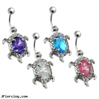 Steel Turtle Navel Ring With A Large Oval Cz Center Length 7 16