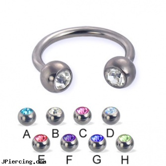Titanium jeweled circular barbell, 14 ga, titanium or stainless steel belly button rings, titanium body jewelry, titanium and body and jewelry, 18g jeweled labrets, jeweled labrets