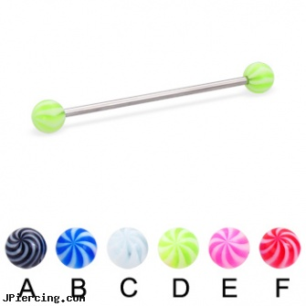 Tornado ball long barbell (industrial barbell), 14 ga, belly ring balls, silicone cock ring with balls, beach ball barbell and eyebrow piercing, how long will it take for tongue piercing to close, how long before regrowing tongue peircing