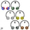 Stainless steel circular (horseshoe) barbell with pattern printed balls, 14 ga