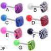 Straight barbell with acrylic ball and tiger print square top, 14 ga